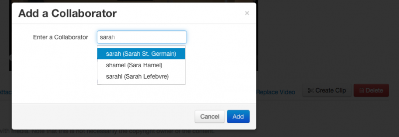 "Screenshot of searching for a collaborator in the ""Add a Collaborator"" modal window."