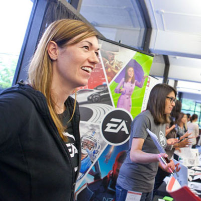 "At Harvard's ""big data"" career fair, Emily Tunnicliffe represented Electronic Arts, a company founded by SEAS alumnus Trip Hawkins '76. (Photo by Eliza Grinnell.)"