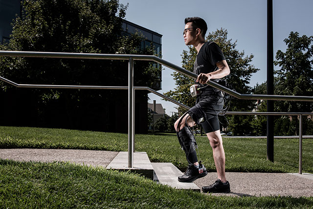 The ankle-assisting exosuit can facilitate normal overground walking. Credit: Rolex Awards/Fred Merz