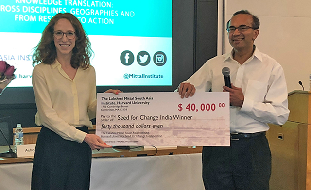 Green Screen founder and Harvard Graduate School of Design student Gina Ciancone, MUP '19, accepts the $40,000 in seed funding the startup won through the Lakshmi Mittal and Family South Asia Institute's Seds for Change competition. (Photo provided by Daniel Cusworth)