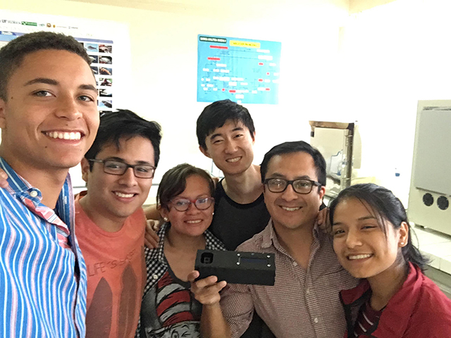 In Peru, the students from SEAS and UTEC collaborated to develop this soil-testing spectrometry device, being held by UTEC engineering professor Carlos Alfredo Rios Perez.