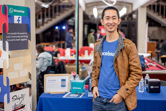 Alumnus Carl Gao, A.B. '15, a computer science concentrator, returned to campus for HackHarvard, now as a sponsor representing Facebook. (Photo by Oleksandr Babii)