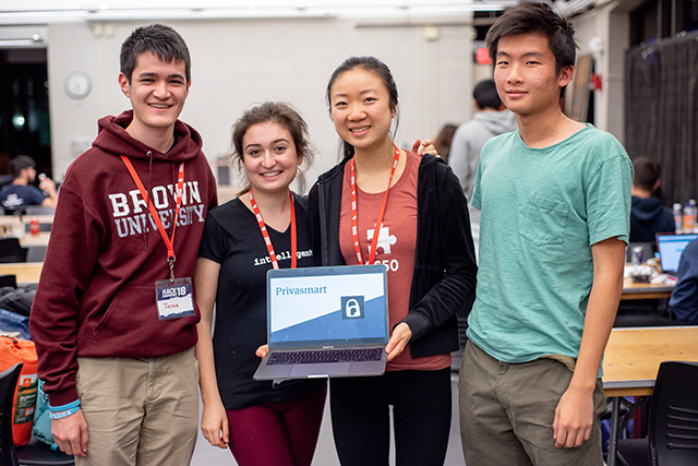 Privasmart team members (from left) Brown University computer science major Jason Crowley, A.B. '22, Hannah Cole, A.B. '22, Andrea Zhang, A.B. '22, and computer science concentrator Randy Yan, A.B. '22. (Photo by Oleksandr Babii)