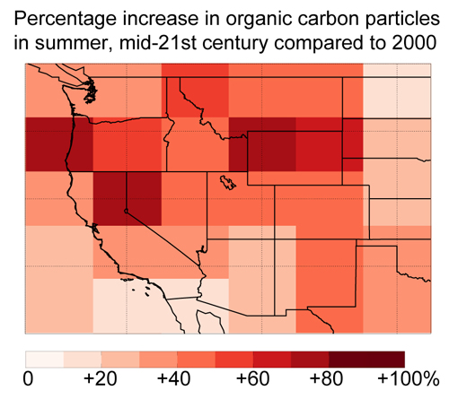 Increase in organic carbon due to wildfires