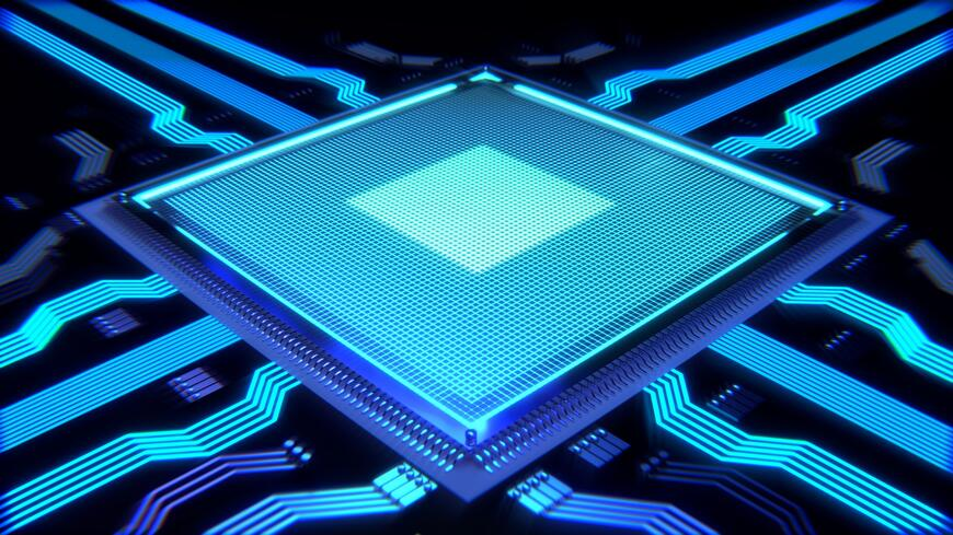 picture of computer chip with light