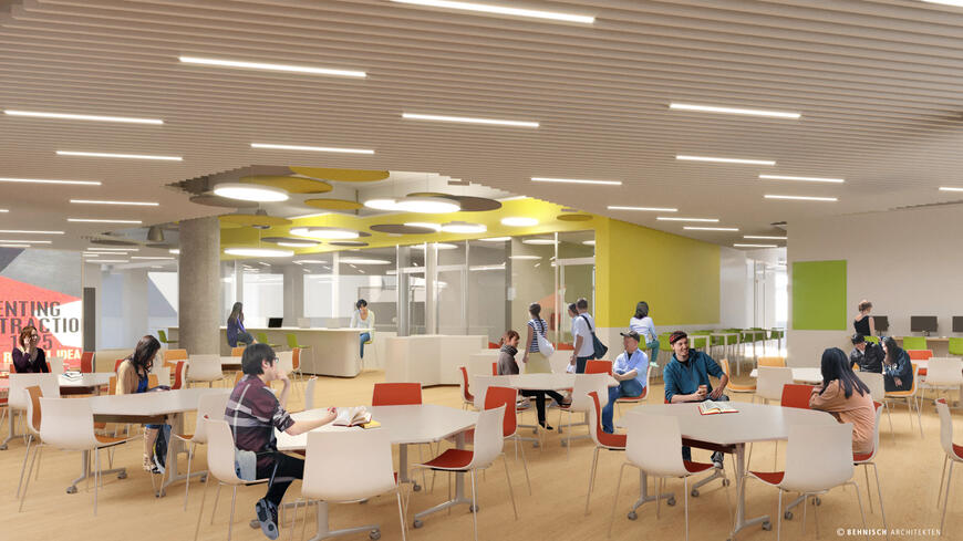 The SEC library will contain bookable private study rooms, a collaboration area, and visualization wall.