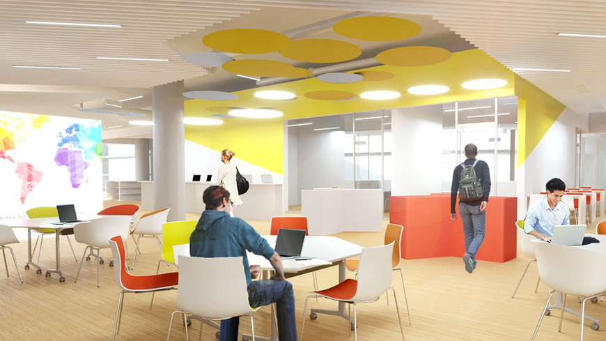 The SEC library will contain bookable private study rooms, a collaboration area, and a visualization wall.