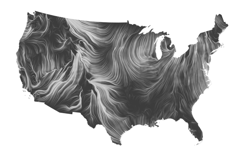 A map of the United States depicting wind currents in white against a dark gray background.