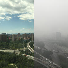 Beijing with haze and without haze (Image courtesy of Jonathan M. Moch/Harvard SEAS)