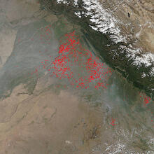Agricultural fires in the northernmost section of the Punjab state of India