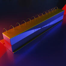 Inside an infrared frequency comb in a quantum cascade laser, the different frequencies of light beat together to generate microwave radiation. (Illustration courtesy of the Capasso Lab/Harvard SEAS)