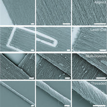 Scanning electron microscopy images of various scaffold structures and fiber alignments