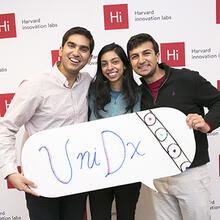 Applied math concentrators (from left) Rajet Vatsa, Mirai Shah, and Neil Davey launched UniDx to bring the latest microfluidics technology to health workers in developing nations.