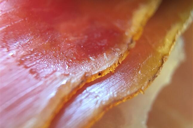 Close up of prosciutto ham