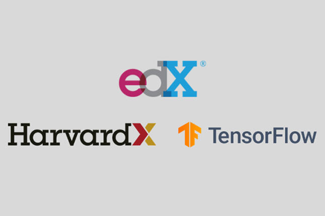 The EdX, HarvardX, and TensorFlow logos