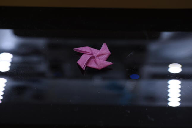 image of a keratin sheet folded into a complex origami star