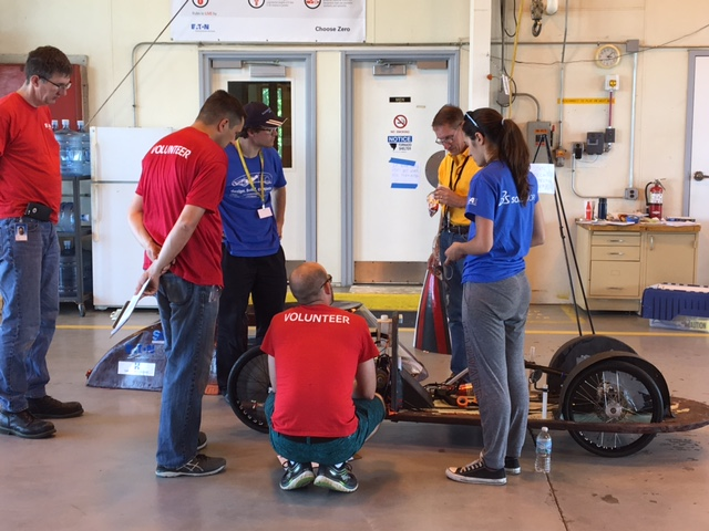 SAE Supermileage Competition officials conduct a thorough technical inspection of the SEAS Racing Team car. (Photo courtesy of Joe Pappas)
