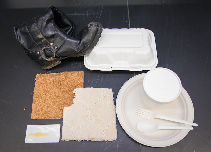 Samples of materials found around campus tested for PFAS (Photo courtesy of Eliza Grinnell/Harvard SEAS)