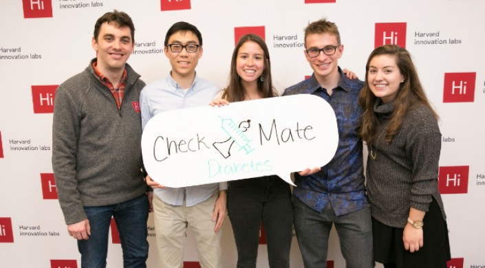 The Checkmate Diabetes team (from left) Michael Heisterkamp, Huey Shih, Emi Gonzalez, Filip Michalsky, and Tara Markert. (Photo provided by Emi Gonzalez)