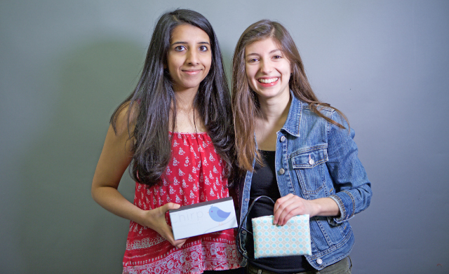 Students Risham Dhillon (left) and Phoebe Stoye developed Chirp to help prevent infant deaths in hot cars. (Photo by Adam Zewe/SEAS Communications.)