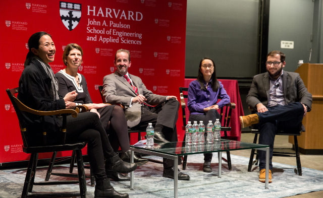 Panelists (from left) Joanne Chang, A.B. '91, Julie Kitchenka Ferland, S.B. '98, Dean Frank Doyle, Dao Nguyen, A.B. '94, and Eric Hysen, A.B. '11, shared insights and advice with sophomores at the first annual Sophomore Convocation. (Photo by Lori K. Sanders/SEAS.)