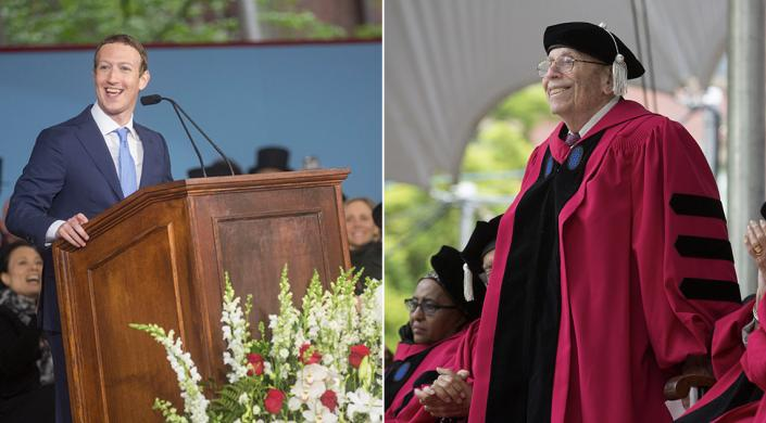 Mark Zuckerberg and Michael O. Rabin, the Thomas J. Watson Sr. Research Professor of Computer Science, received honorary degrees at the 366th Harvard Commencement (Photo credit: Harvard University)