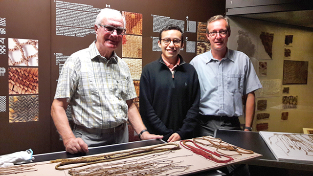 Medrano with Michael Zelle, Director of the Lippisches Landesmuseum in Detmold, Germany (right), and Roger Meyer, who works with the museum's Peruvian collections. (Photo courtesy of Manny Medrano)