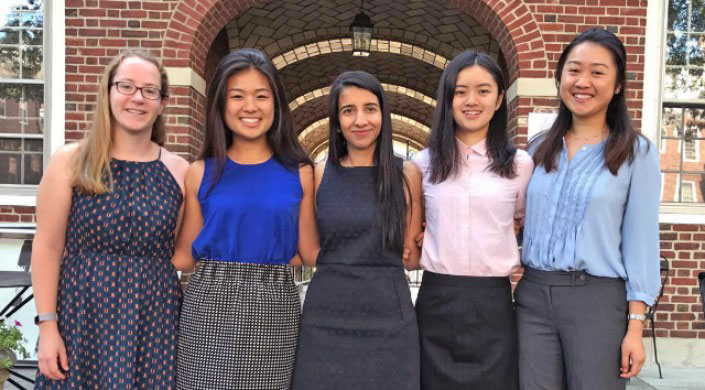 The Four94 leadership team, (from left) Katherine Binney, A.B. '19, Janet Chen, A.B. '19, Risham Dhillon, A.B. '18, Demi Guo, A.B. '20, and Yong Dich, A.B. '20. (Photo provided by Risham Dhillon.)