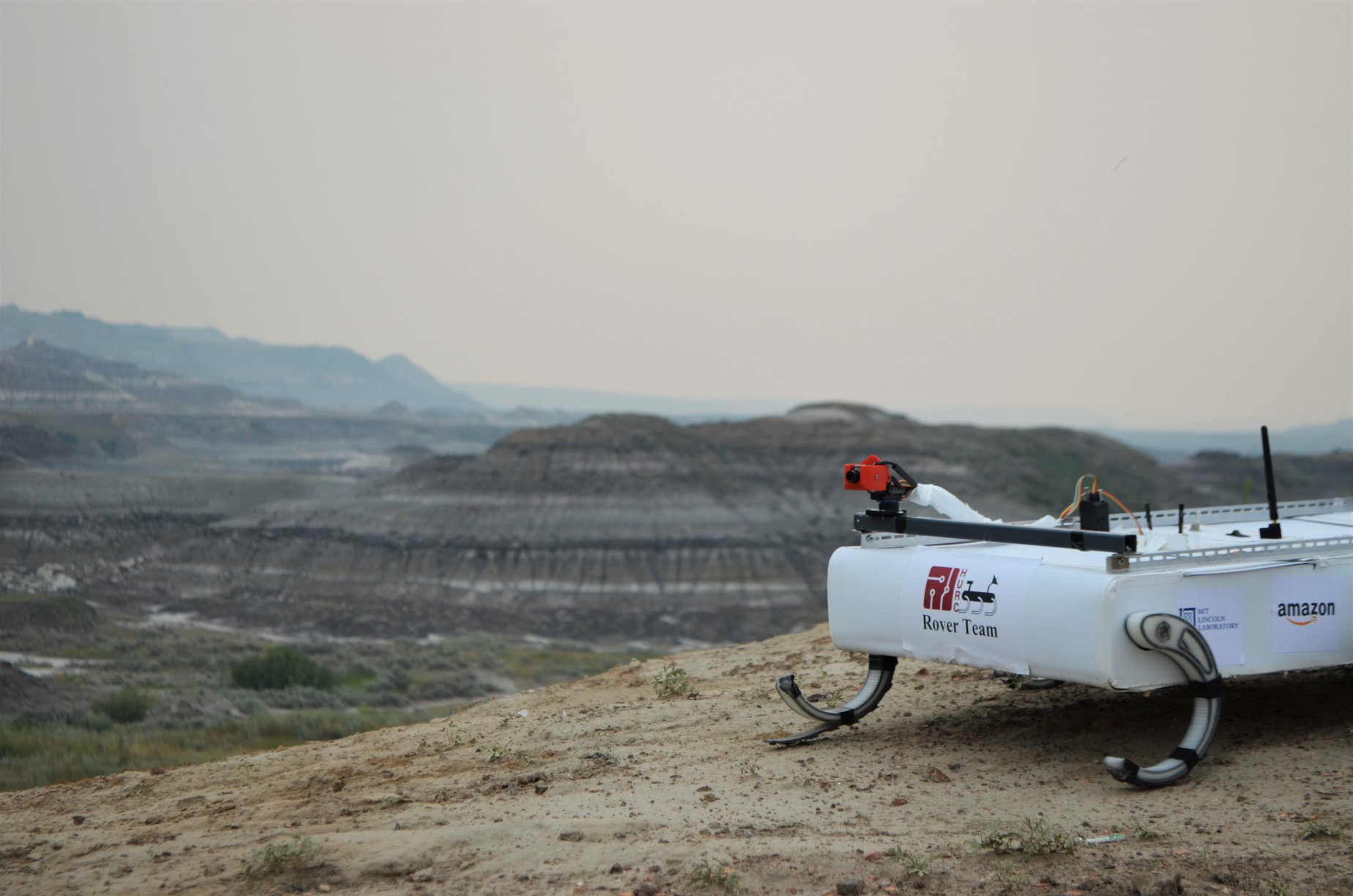 The Harvard team's Mars Rover conducted a search-and-rescue mission, repaired a piece of space equipment, and collected mineral samples during the Canadian International Rover Challenge. (Photo courtesy of the Harvard Undergraduate Robotics Club)