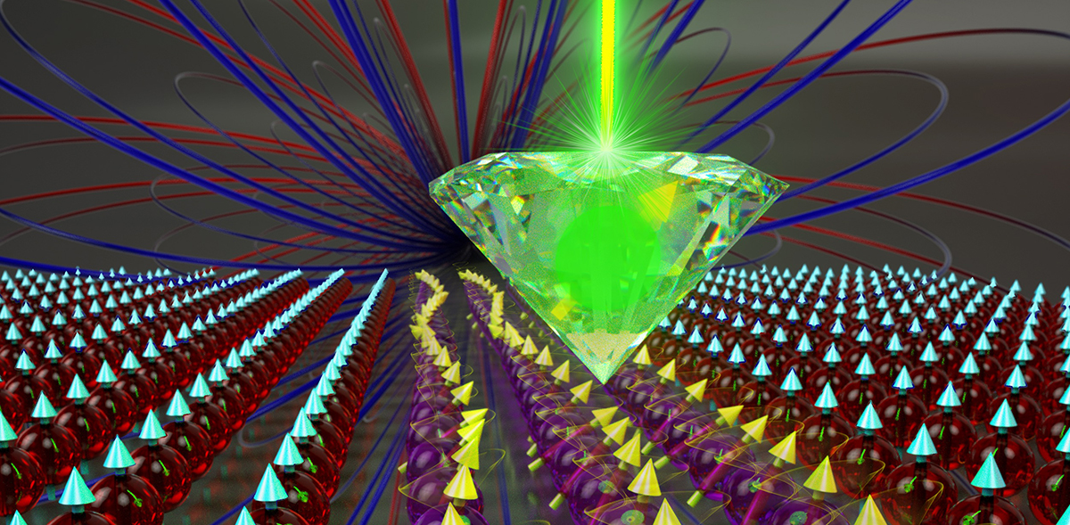 Researchers used atomic-size defects in diamonds to detect and measure magnetic fields generated by spin waves. (Image courtesy of Peter and Ryan Allen/Harvard University)